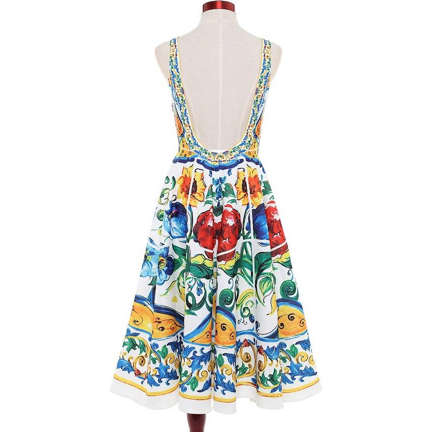 HIGH QUALITY Newest 2018 Designer Runway Dress Womens Sleeveless Retro Floral Printed Co ...