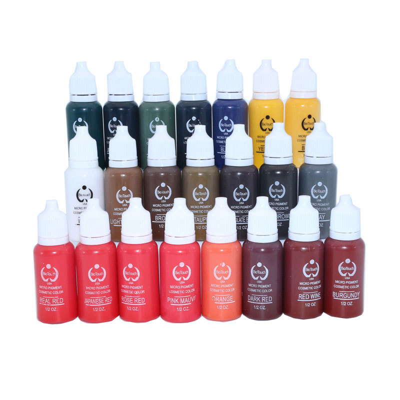 23Pcs Ink Permanent Makeup Pigment 15Ml Cosmetic 23 Color Tattoo Ink Set Paint For Microblading Eyebrow Lip Body Makeup 35000r import permanent makeup machine best tattoo makeup eyebrow lips machine pen