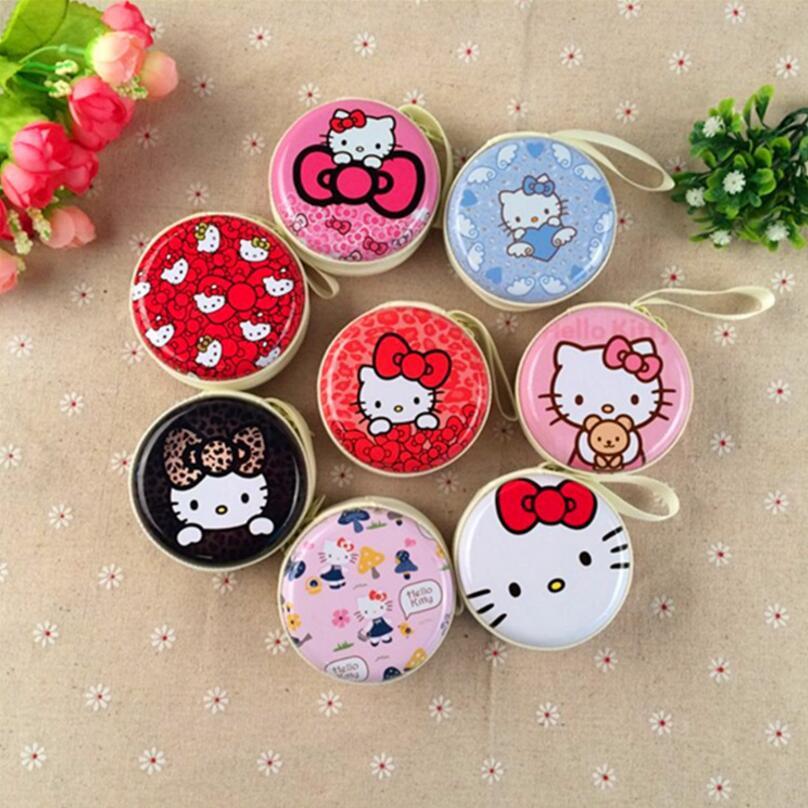 Hot Kitty Cartoon Candy Color Silicone Coin Purse Key Wallet Earphone Organizer Storage Box Cute Cartoon Money Bag