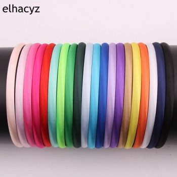40pcs/lot 42colors 10mm Colors Satin Covered Resin Hairbands for Children Solid Head Hoop DIY Headband Hair Accessories