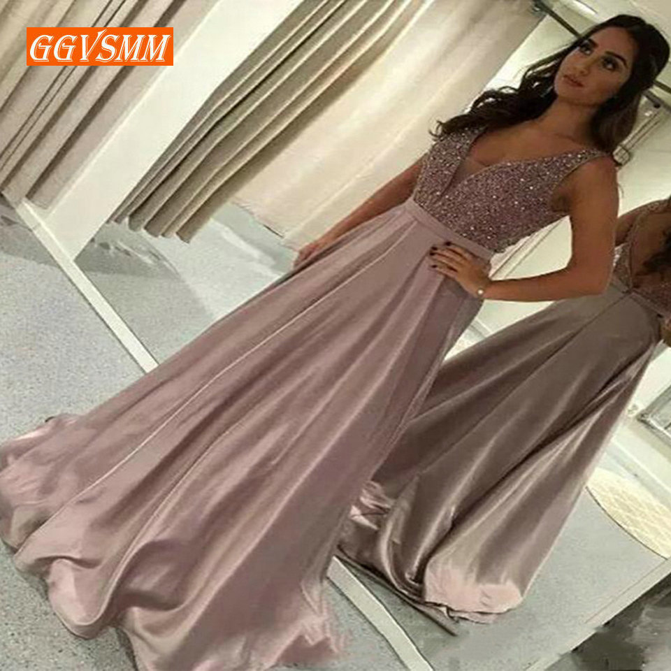 Stylish Hot Pink Long Party   Evening     Dresses   2019   Evening   Gown Women Slim Fit V-Neck Satin Sequin Zipper Formal Prom   Dresses   Maxi