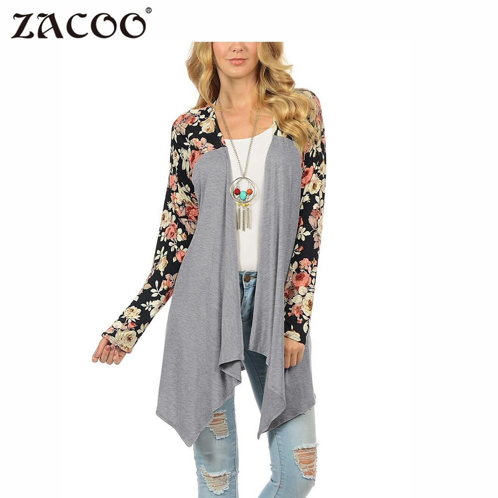 Charitable Zacoo Women 2017 Casual Floral Print Long Sleeve Stitching Irregular Hem Loose Cardigan Fashion Spring Autumn Grey Cardigan Zk30 Do You Want To Buy Some Chinese Native Produce?