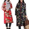 Extra longo casacos de inverno 2016 mulheres casaco de linho de algodão mandarim collar casacos clothing flor chinesa étnica do vintage casaco longo para baixo