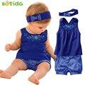 Moda roupas de bebê Azul bebê se adapte Bebê lenço + vestido sem mangas + calça xadrez gingham New chegou bebê frete grátis roupas