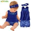 Ropa de bebé de Moda trajes de bebé Azul Bebé vestido sin mangas + pañuelo + pantalón a cuadros guinga Nuevo llegado bebé libre del envío ropa