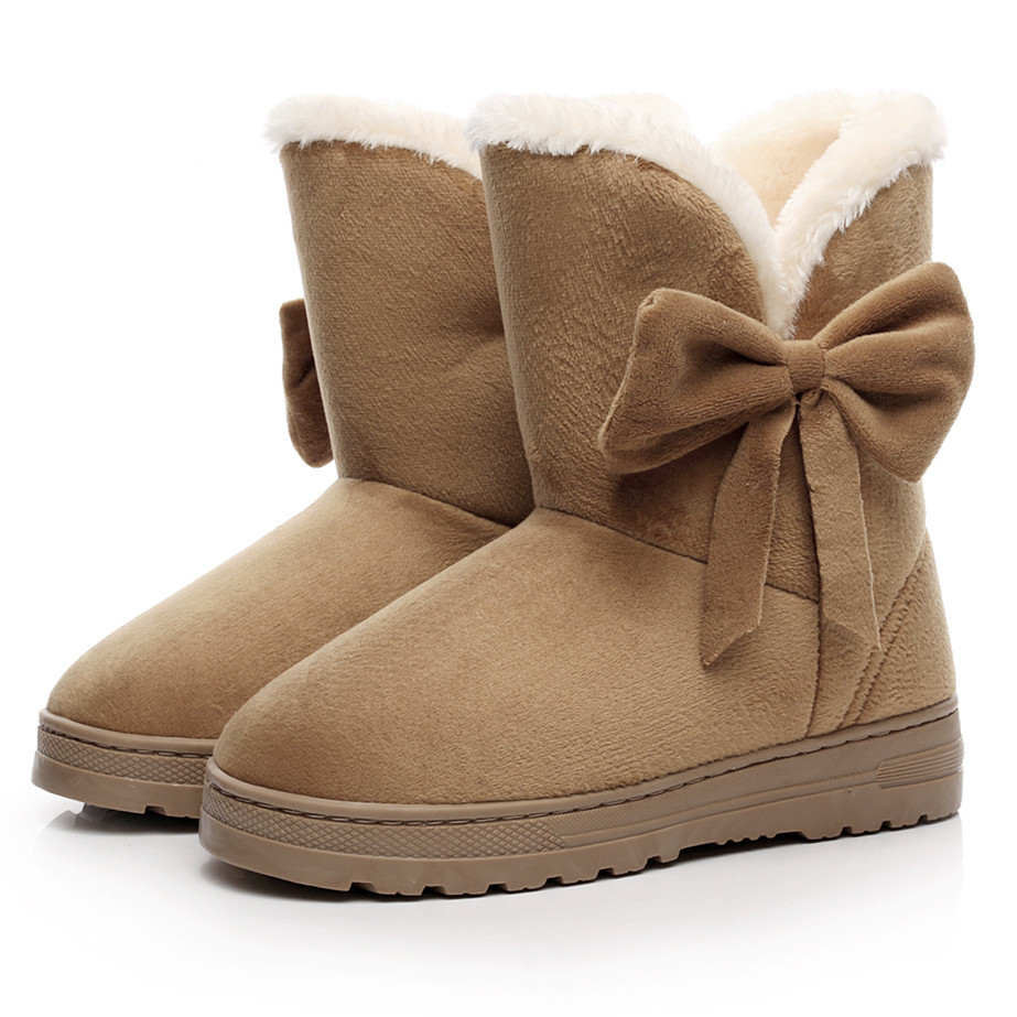2016 NEW Women Boots Warm Winter Snow Boots Suede Ankle Boots Bowtie Thick Plush Inside Waterproof Botas Mujer Fur Insole Free