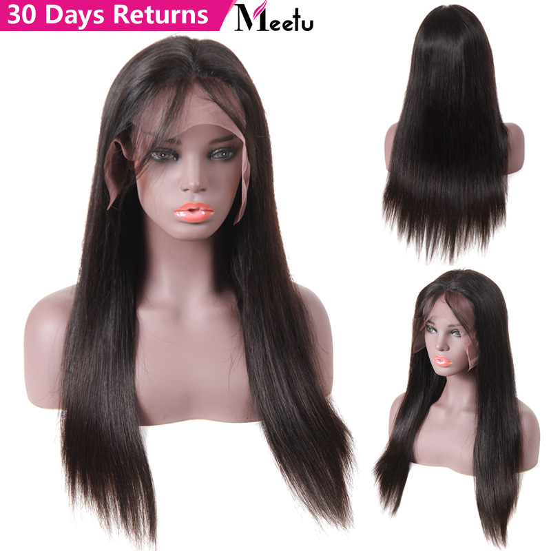 Straight Lace Front Human Hair Wigs For Black Women Glueless Full End Brazilian Remy Hair Pre Plucked Lace Wig With Baby Hair