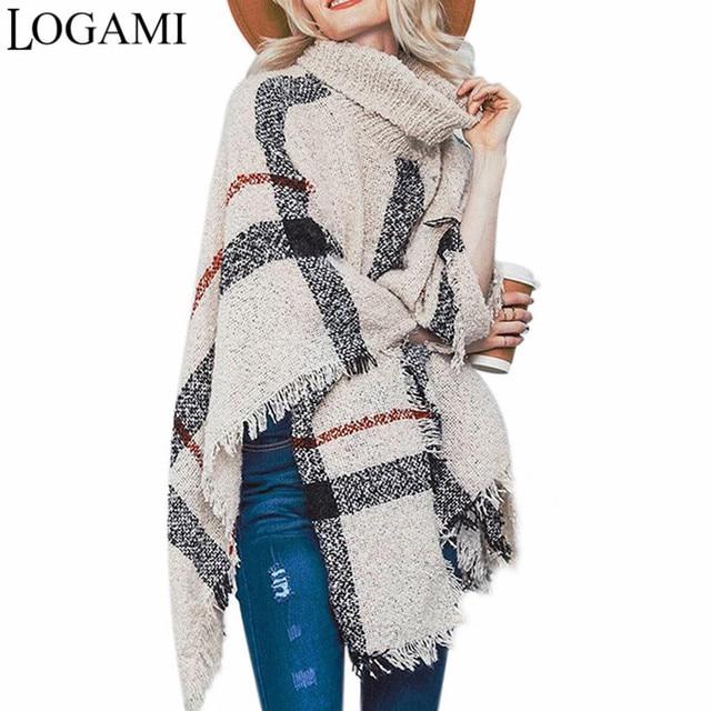 LOGAMI פונצ 'ו סגנון מעיל סתיו חורף פונצ' ו סריגה גולף נשים ארוך Ponchos ושכמיות סוודר סוודרי למשוך Femme