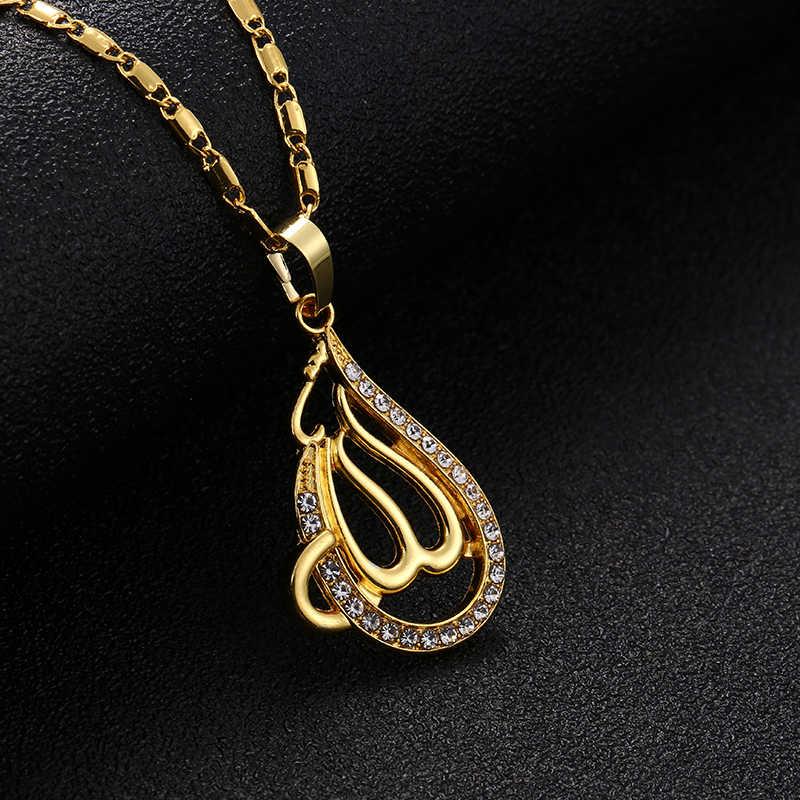 Hồi giáo Vàng/Bạc/Vàng Hồng màu sắc Thiên Chúa Allah Mặt Dây Chuyền Vòng Cổ Phụ Nữ Hồi Giáo Đồ Trang Sức Quyến Rũ Đồng Chuỗi Vòng Cổ phụ nữ quà tặng