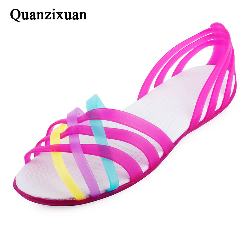 Women Sandals 2018 Summer Candy Colors Women Shoes Peep Toe Beach Shoes Rainbow Jelly Shoes Woman Flats hee grand women sandals summer style bling bowtie peep toe jelly shoes woman crystal flats ladies 4 colors size 35 40 xwz3283