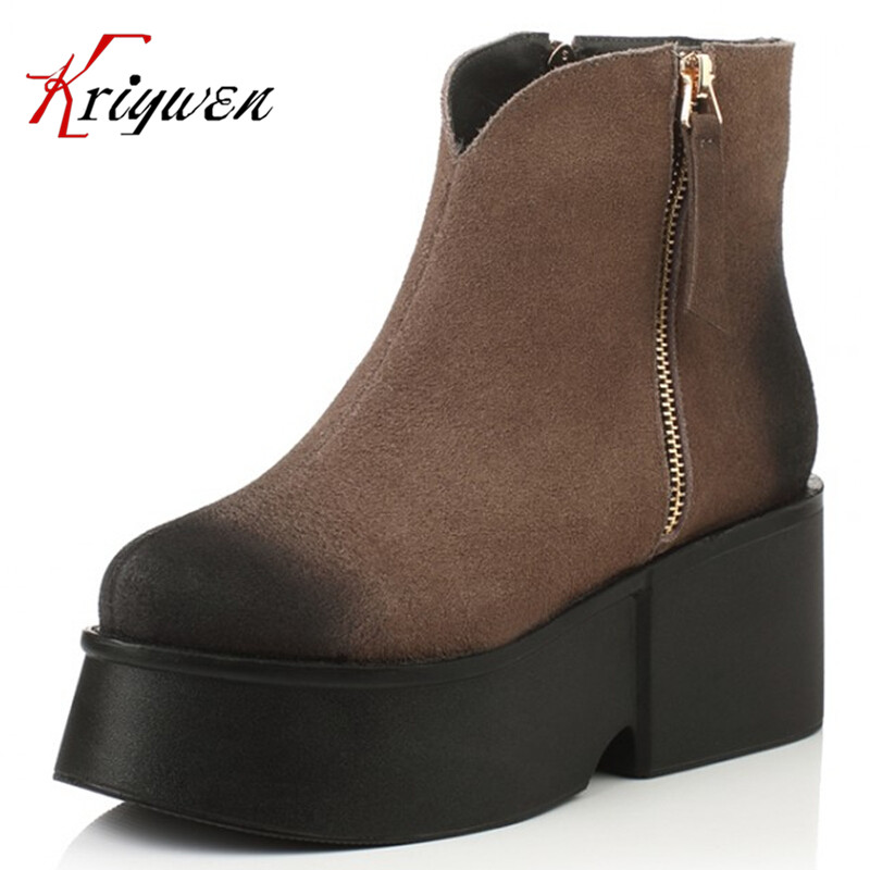 ФОТО Free shipping 2016 winter autumn cool women's cow suede lady martin shoes lady round toe thick bottom double zipper ankle boots