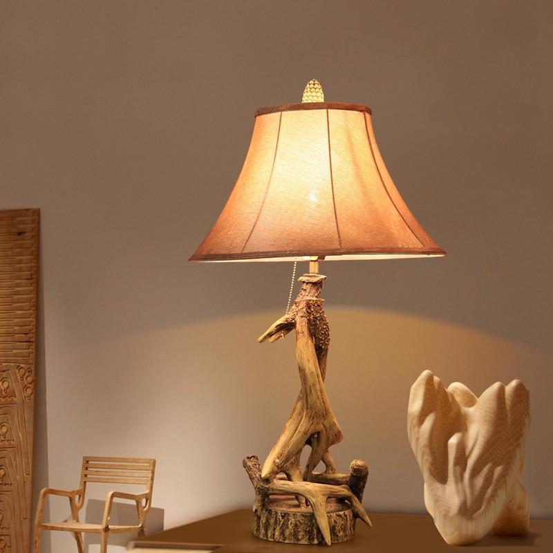 Рога смолы Дизайн лампа классический американский декоративные настольные лампы Спальня ночники Гостиная домашнего освещения Abajour