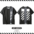 Best Version New Arrival 2017 Spring Summer OFF WHITE Patchwork Stitching  Couple Twill OW Round Neck Short Sleeve T-shirt