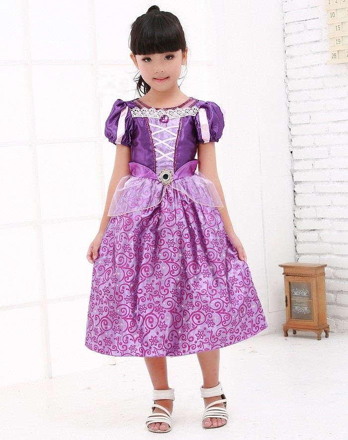 Vocole Girl Deluxe Purple Princess Rapunzel Costume Kids Fairy Cinderella Cosplay Fancy Dress