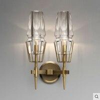Постмодерн хрусталь абажур медь Творческий бра Nordic Минималистский декоративные ночники E14 лампы освещения