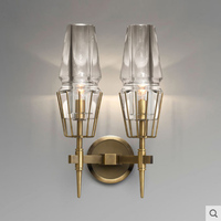 Postmodern crystal glass lamp shade copper creative wall lamp Nordic minimalist decorative bedside lamp E14 lighting lamp