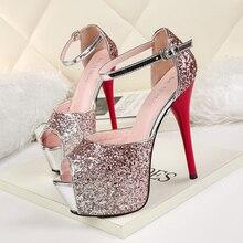 2019 Sexy Luxury High Heel Pumps Colourful Crystal Blink Platform Shoes Buckle Strap Peep toe Shoes Women Party Nightclub Pumps недорого