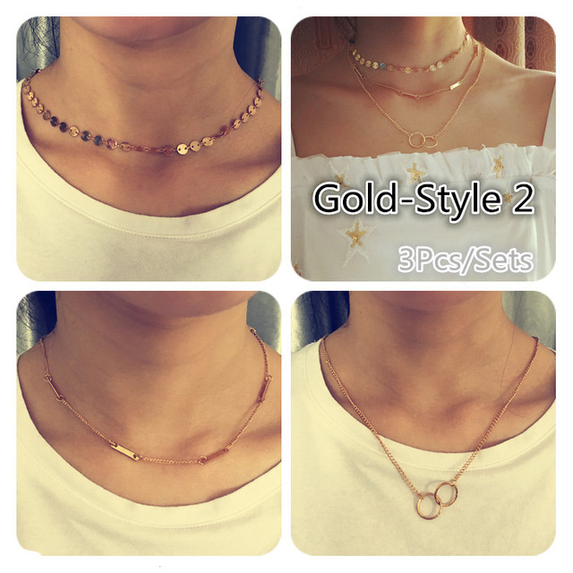 Pameng Silver Color Chain Leaves Multi Layer Choker Necklace for Women Collier Femme Fashion Jewelry Gold Color 1