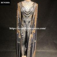 BU296 сексуальный женский комбинезон накидка серебро и золото блеск боди с кристаллами для ночного клуба вечерние для певицы для сцены одежда