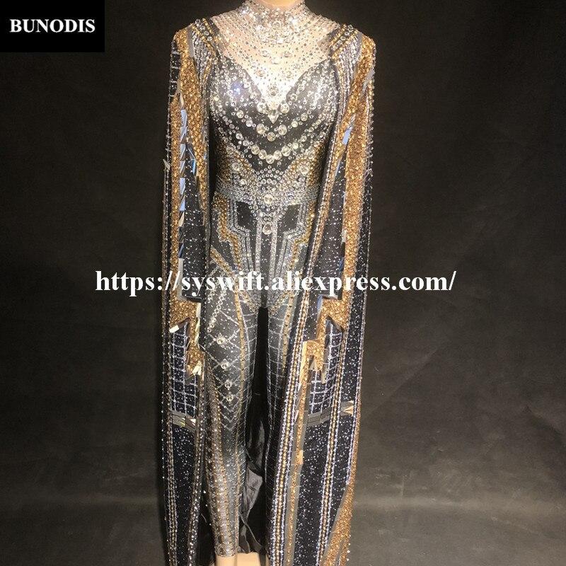 BU296 Femmes combinaison sexy Cape Argent & Or Étincelle Cristaux Body Nightclub Chanteur Stage Porter Costumes Bling