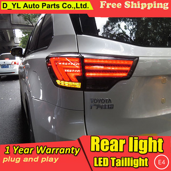 D-YL Car Styling Accessories for Toyota Highlander LED Taillights 2015 Highlander Tail Light Rear Lamp DRL+Brake+Park+Signal