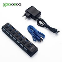 Hi Speed 7 Port USB 3 0 Hub Adapter LED Indicator On Off Switch For PC