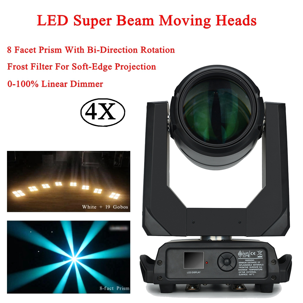 4Pcs/Lot Hot 100W LED Super Beam Moving Head Light DMX512 Sound Channel 8 Facet Prism Led Moving Disco DJ Party Stage Light