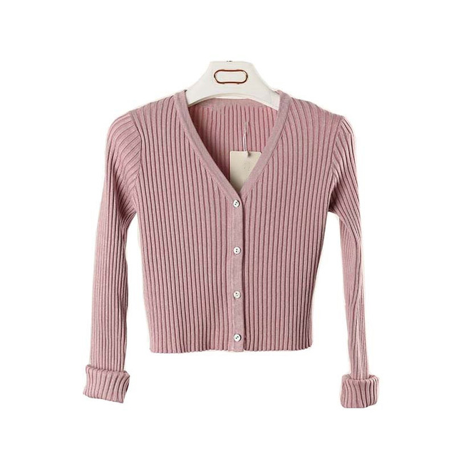 2018 Women Slim V Neck Knitted Cardigan Long Sleeve Cropped Cardigan  Sweaters Ladies Solid Women Short