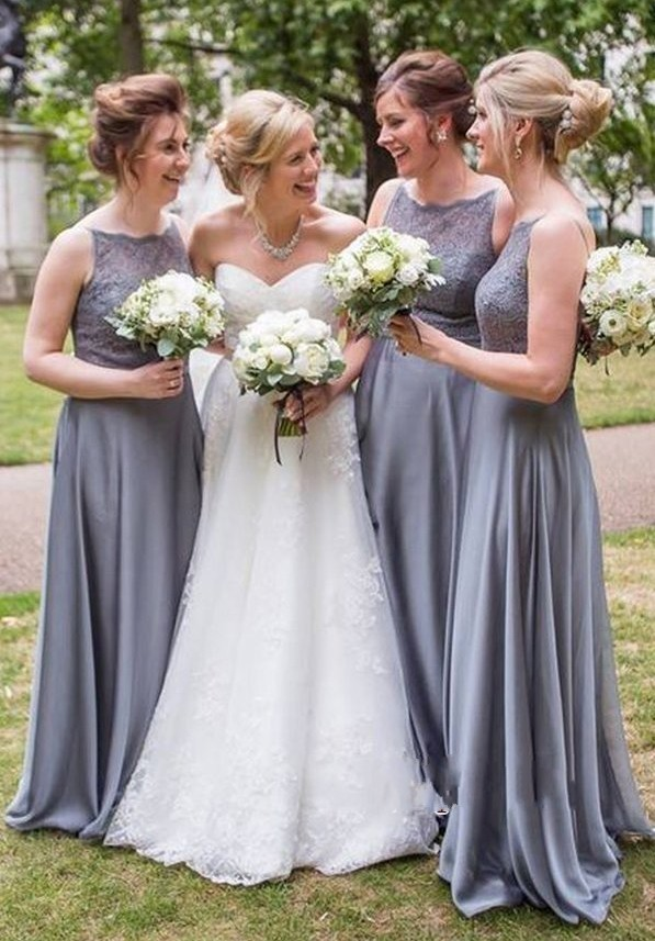 New Elegant Gray   Bridesmaid     Dresses   High Neck Backless Chiffon   Dress   For Wedding Party vestido dama honor
