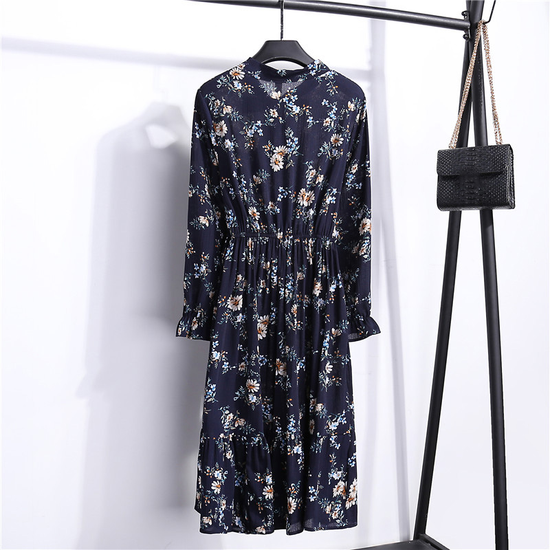 Summer Korean Chiffon Women Dress Elegant Ladies Vintage Long Dress Boho Floral Office Long Sleeve Vestidos Clothing 5LYQ003 15
