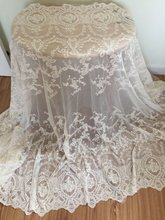2 Yards Vintage Style Cotton Mesh Embroidered Lace Fabric in Beige ,Wedding Gauze by Yard 140cm  wide