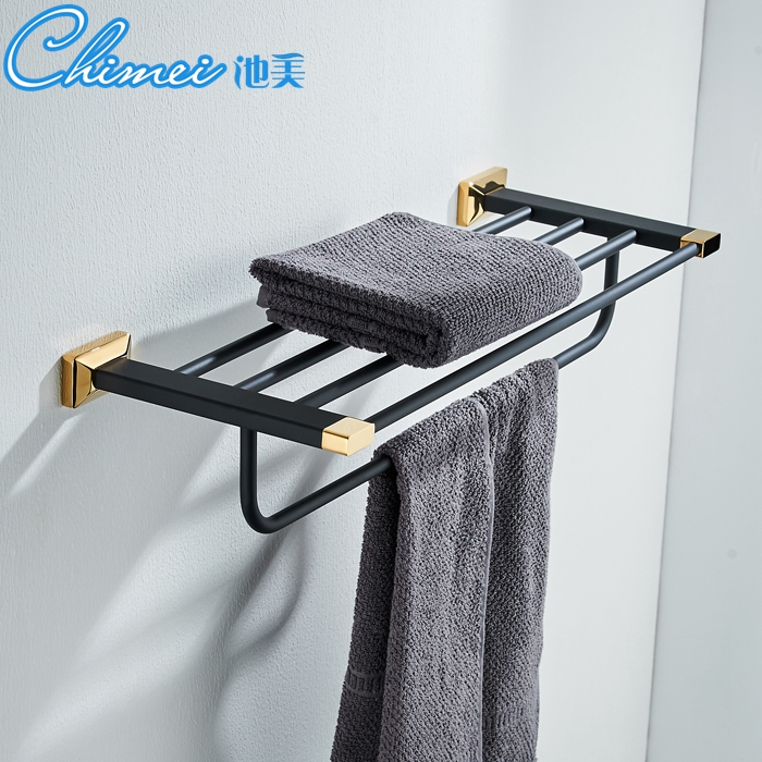 European Towel Racks Bathroom Accessories Double Garden Country Style Black Bronze & Gold Towel