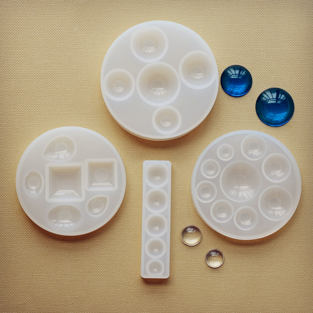 SNASAN Silicone Mold Half Ball Oblate Cabochon Pendant Resin Silicone Mould Handmade Tool  Epoxy Resin Molds  Jewelry Making