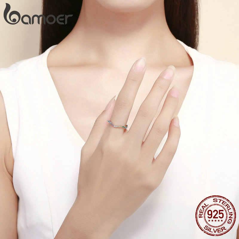 Bamoer Vendita Calda 925 Sterling Silver Contorto Colorato Cz Zirconia Anelli di Barretta per Le Donne di Nozze di Fidanzamento Gioielli SCR465