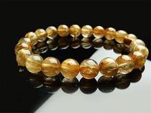 Genuine Natural Brazil Gold Rutilated Quartz Crystal Woman Gemstone 9mm Titanium Best Round Beads Bracelet Jewelry Bangle AAAA