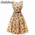 charMma 2017 Spring New Women Sunflower Print Vintage Dress 1950s Luxury High Waist Party Dress Summer Sleeveless Pleat Vestido