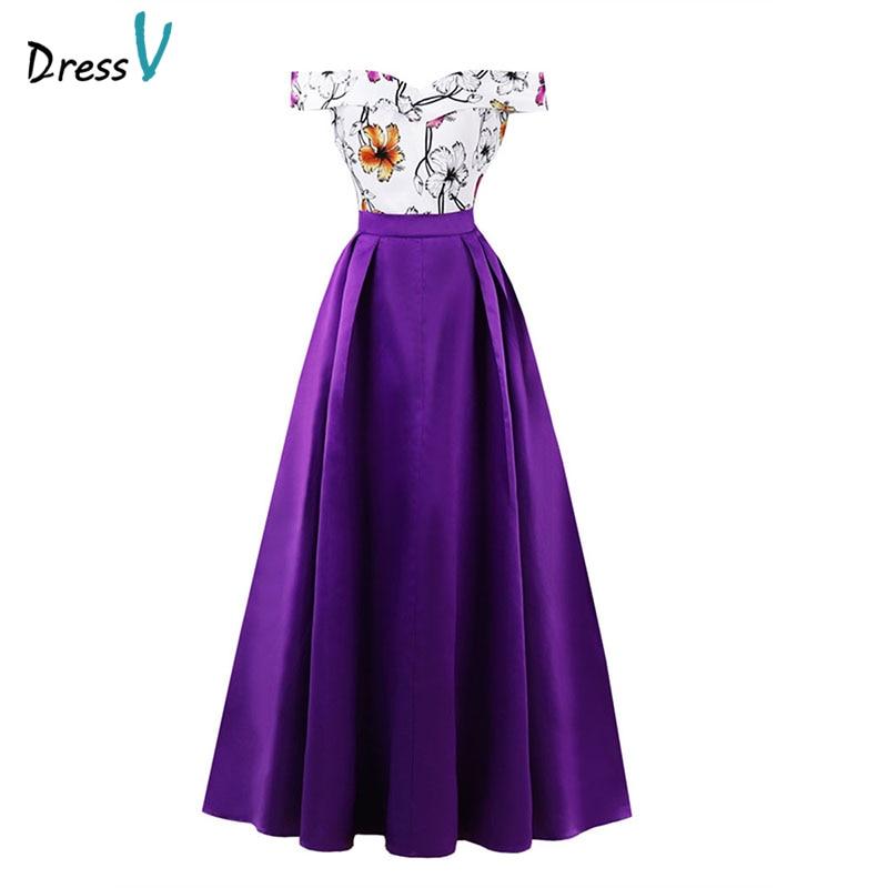 Dressv   evening     dress   cheap off the shoulder printing a line sleeveless floor length wedding party formal   dress     evening     dresses