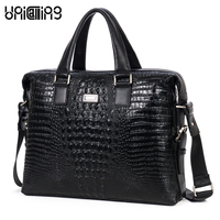 Brand men fashion crocodile pattern top layer cowhide genuine leather business bag men luxury 14 laptop real leather tote bag