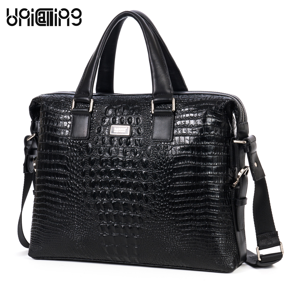 Brand men fashion crocodile pattern top layer cowhide genuine leather business bag men luxury 14 laptop real leather tote bag premium top layer cowhide genuine leather men messenger bag unicalling brand fashion style leather men bags business casual bag