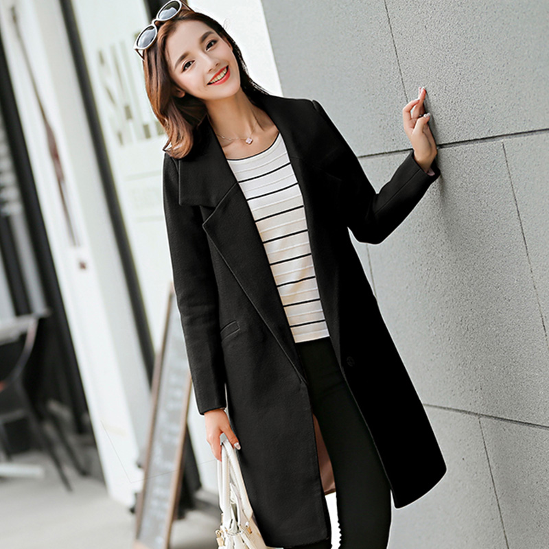 Jacket for pregnant women 2018 autumn and winter fashion Slim women's woolen coat thickening long code long section 2016 autumn winter women s casual fashion not as long as before and after long section side seam zipper bags seven snowflakes