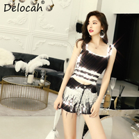 Delocah Women Spring Summer Set Runway Fashion Designer Sexy Spaghetti Strap Slim Coat+Gorgeous Sequined Short Pants Two Suits