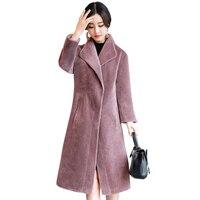 Стрижки овец Шинель Для женщин 2018 натуральная Шуба женская куртка длинные зимние теплый мех ягненка пальто casaco feminino