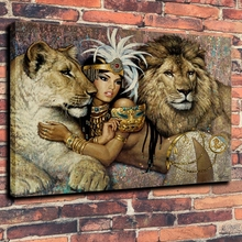 Male Lion and Lioness Holding Sexy Indian Girl Canvas Painting for Dining Room Home Decorations Abstract Cartoon Wall Decor Gift