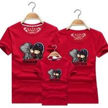 цена 1 Piece Dad Mom Short Sleeves T-Shirts 2019 Family Matching Clothes Blue Stripe Couple T Shirt Cartoon Female Male 5xl Summer онлайн в 2017 году