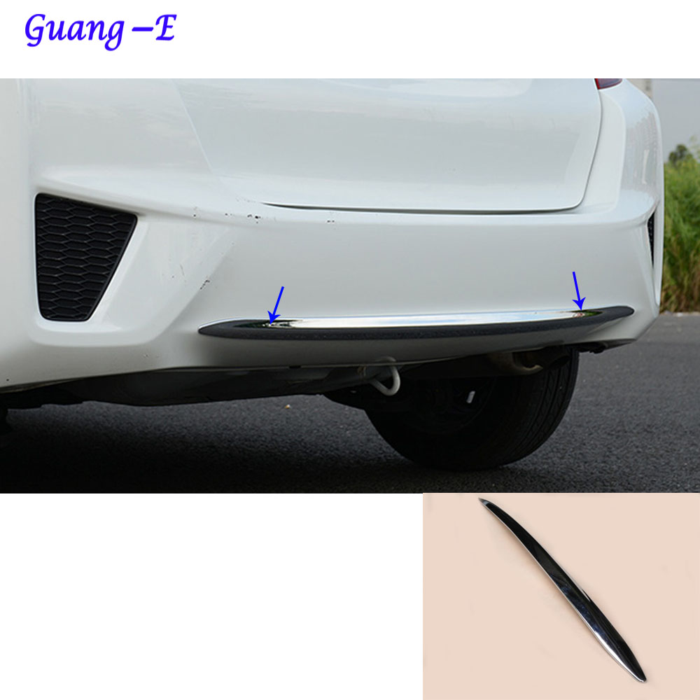 For Honda Fit jazz 2014 2015 2016 2017 car body cover protection Bumper ABS Chrome trim rear back tail bottom hoods parts 1pcs car rear trunk security shield cargo cover for honda fit jazz 2014 2015 2016 2017 high qualit black beige auto accessories