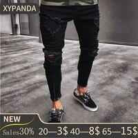 Men Slim Biker Denim Jeans Skinny Frayed Pants Distressed Rip Troursers Zipper