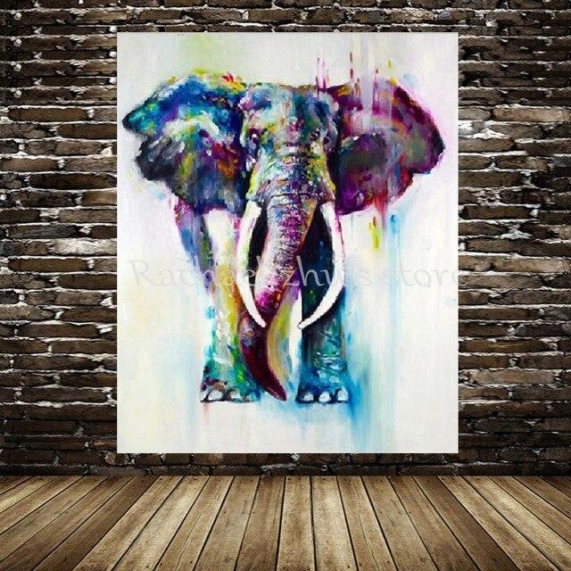 Nouveau Peint À La Main L'Eau Couleur Éléphant Peinture À L'Huile