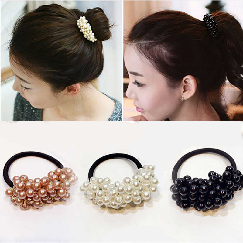 M MISM Fashion Hair Accessories Solid Color Semi-circle Pearl Beads Rubber Headbands Women Ponytail Holder Elastic Hair Bands