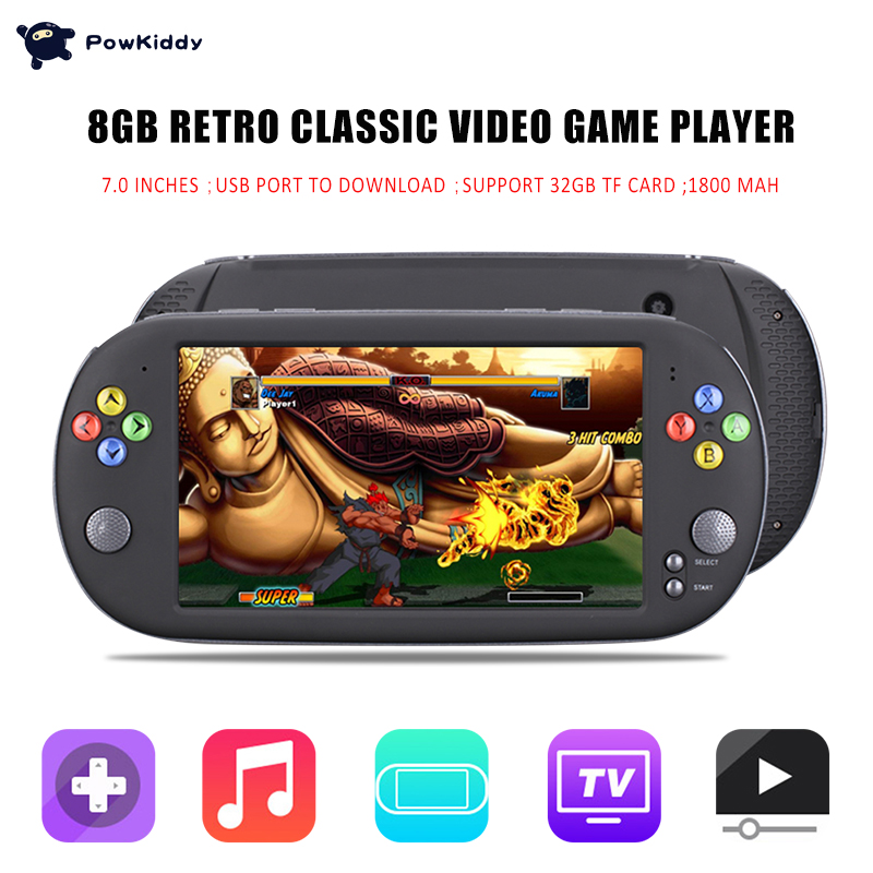 Powkiddy X16 7 Inch Game Console Handheld Portable 8GB Retro Classic Video Game Player for Neogeo Arcade Handheld Game Players