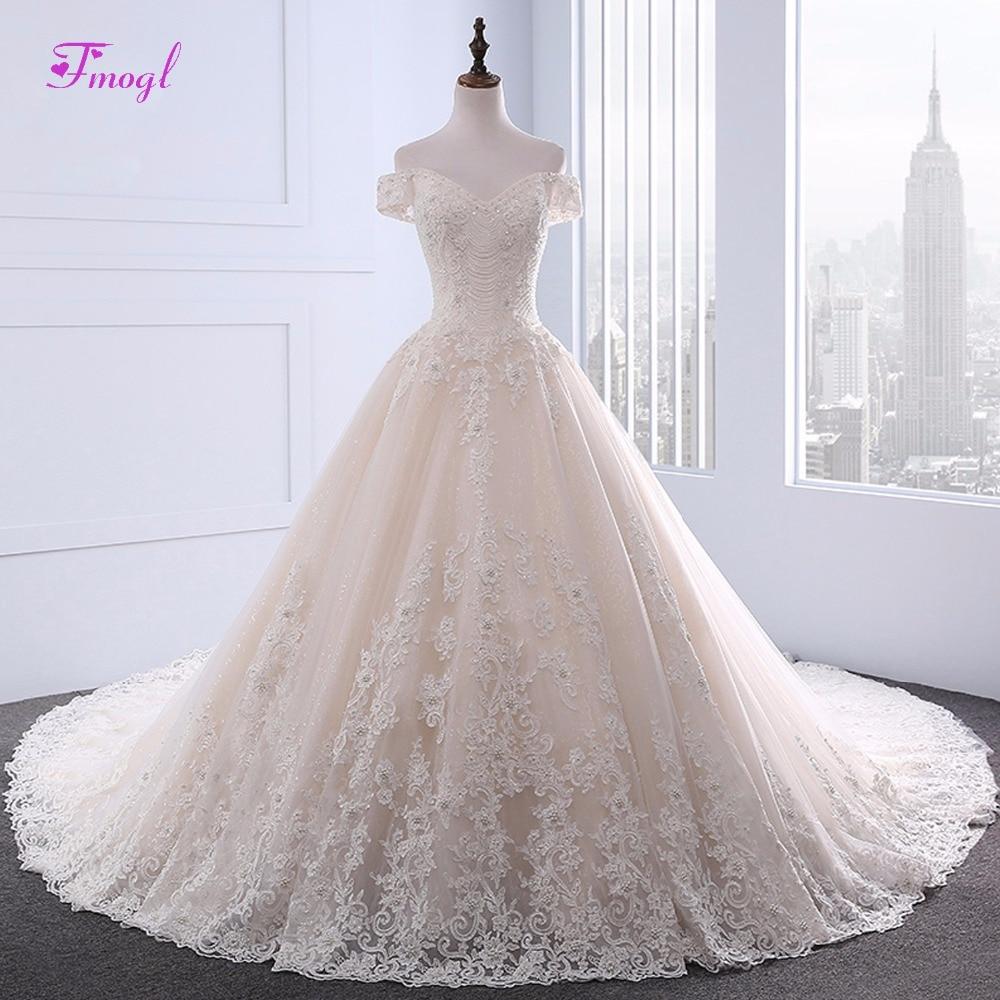 Fmogl Sweetheart Neck Robe  De Mariage Appliques A-Line Wedding Dresses 2018 Luxury Beaded Chapel Train Bridal Dress Plus Size